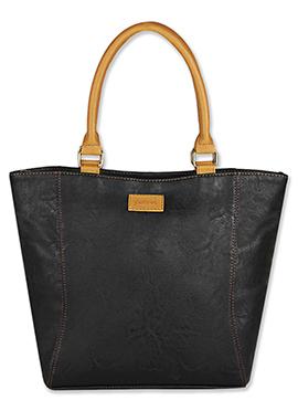 Purseus Leather Black Tote Bag
