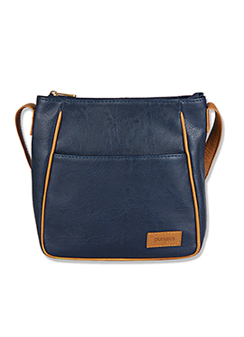Purseus Navy Blue Leather Sling Bag