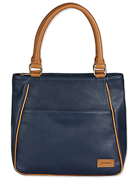 Purseus Navy Blue Leather Tote Bag