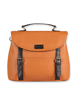 Purseus Orange N Black Leather Satchels