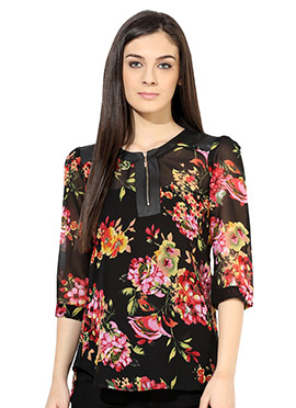 Raindrops Black Printed Foliage Top