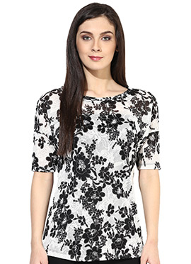 Raindrops Monochrome Printed Top
