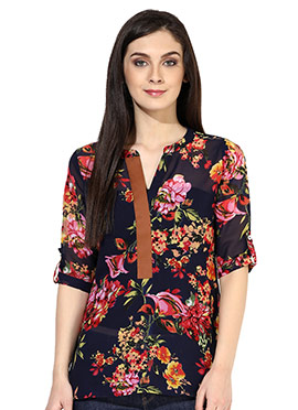 Raindrops Navy Blue Floral Print Top