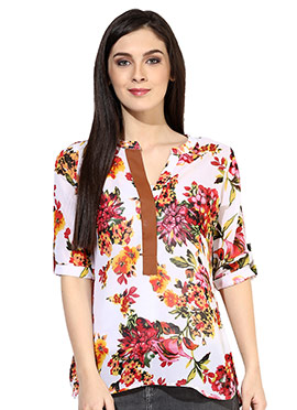 Raindrops Off White Floral Print Top