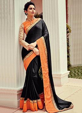 Rakul Preet Singh Black N Orange Georgette Saree