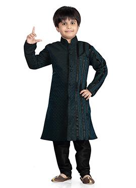 Rama Blue Art Silk Jacquard Kids Kurta Pyjama