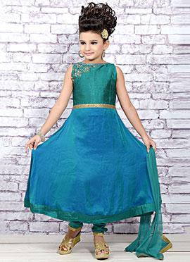 Rama Blue Art Tissue Silk Teens Anarkali Suit