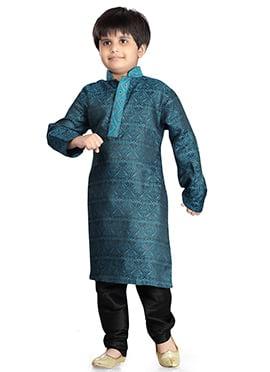 Rama Blue Jacquard Kids Kurta Pyjama