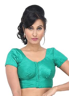 Rama Green Art Dupion Silk Blouse