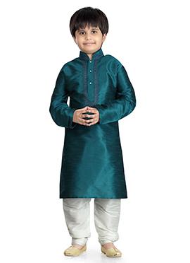 Rama Green Art Dupion Silk Kurta Pyjama