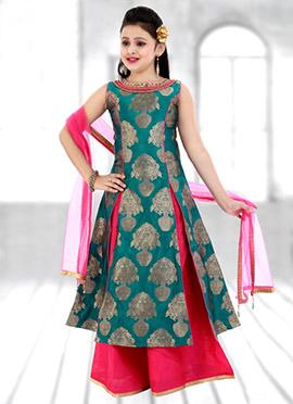 Rama Green Art Silk Teens Long Choli A Line Lehenga