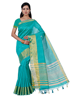 Rama Green Art Tussar Silk Saree