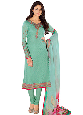 Rama Green Brasso N Georgette Churidar Suit