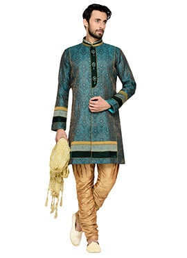 Rama Green Breeches Style Indowestern Sherwani