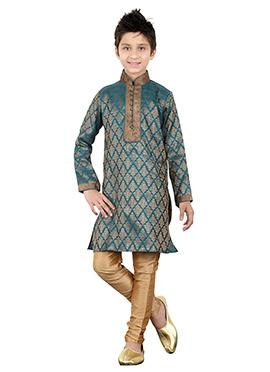 Rama Green Brocade Kids Kurta Pyjama