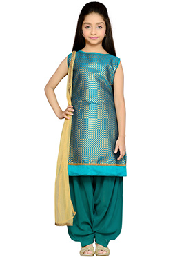 Rama Green Brocade Kids Patiala Suit