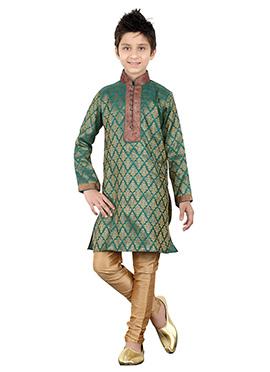 Rama Green Brocade Teens Kurta Pyjama
