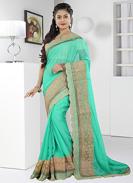 Rama Green Chiffon Saree