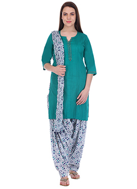 Rama Green N White Pure Cotton Patiala Suit
