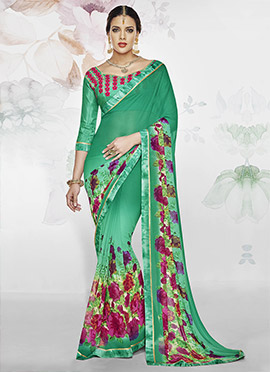 Rama Green Polyester Georgette Saree