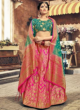 Rani Pink Art Benarasi Silk A Line Lehenga
