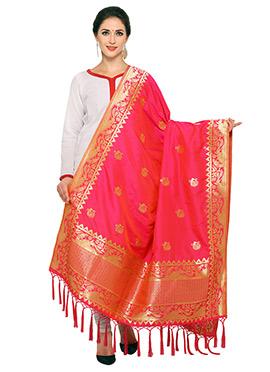 Rani Pink Art Benarasi Silk Dupatta