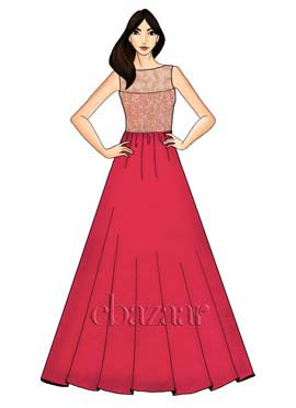 Rani Pink Art Dupion Gown With Peach Net Embroidery