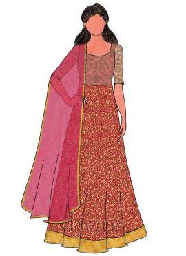 Rani Pink Art Dupion Silk N Pink Brocade Gown