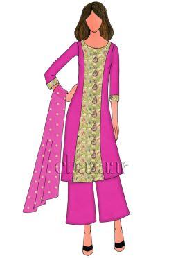 Rani Pink Art Dupion Silk Palazzo Suit