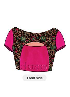 Rani Pink Art Dupion Silk Velvet Blouse