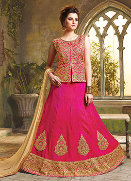 Rani Pink Art Silk A Line Lehenga