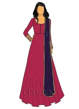 Rani Pink Art Silk Abaya Style Anarkali Suit