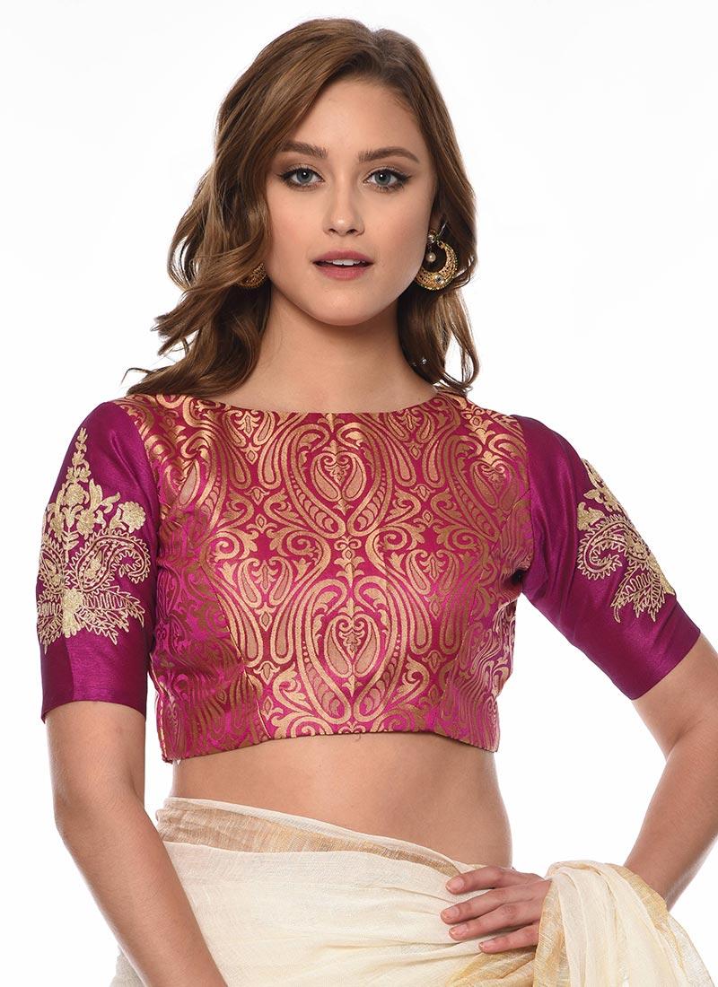 b515e206affcf Buy Rani Pink Art Silk Blouse