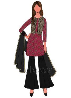 Rani Pink Art Silk Brocade Sharara Suit