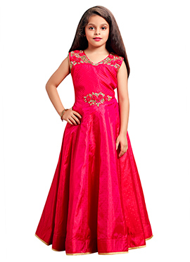 Rani Pink Art Silk Girls Gown
