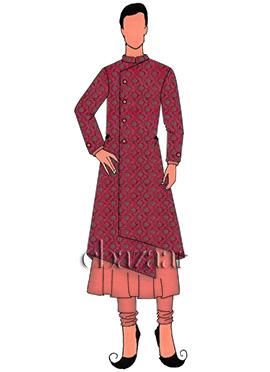 Rani Pink Art Silk Jacket Style Sherwani