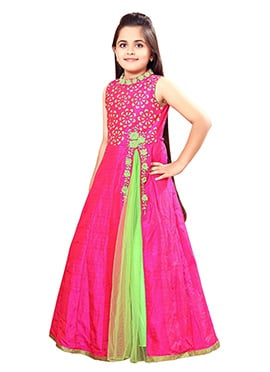 Rani Pink Art Silk N Net Kids Anarkali Gown