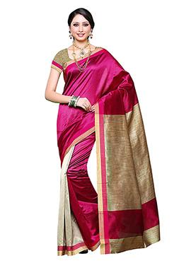 Rani Pink Art Silk Saree