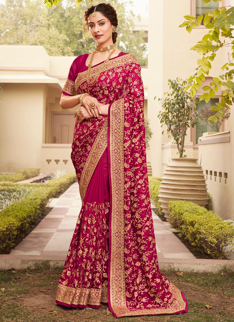 Red Set of 2 Art Silk Saree With Embroidery Readymade Stitched Blouses For Women Wedding Sari Blouse Wear Party Wear Designer SareeBlouses