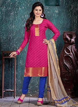 Rani Pink Benarasi Art Silk Churidar Suit