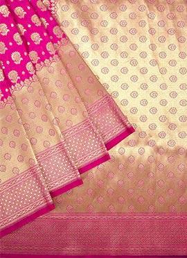 Rani Pink Benarasi Pure Handloom Silk Saree