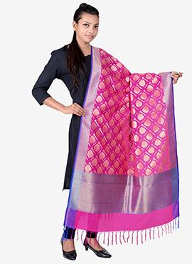 Rani Pink Benarasi Silk Dupatta