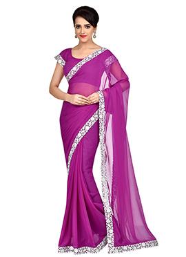 Purple pink Chiffon Border Saree