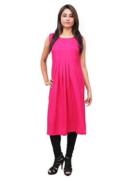 Rani Pink Cotton Rayon Kurti