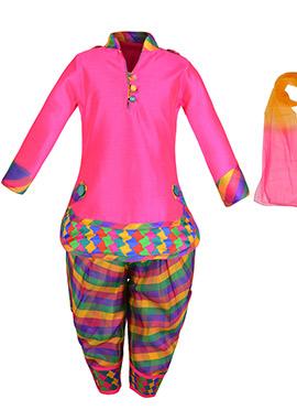Rani Pink Cotton Silk Kids Patiala Suit
