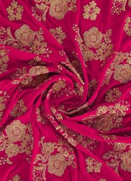 Rani Pink Embroidered Velvet Fabric
