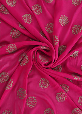 Rani Pink Foil Printed Georgette Fabric