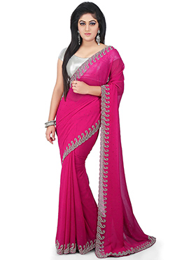 Rani Pink Georgette Border Saree