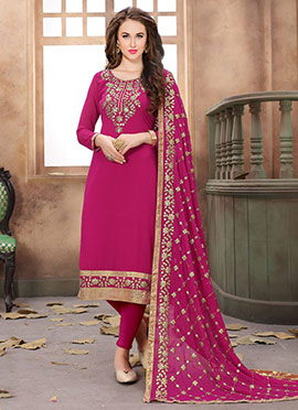 Rani Pink Georgette Churidar Suit