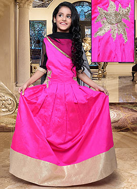 Rani Pink Kids Anarkali Suit